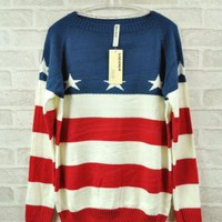 American Flag Stars & Stripes Print Sweater