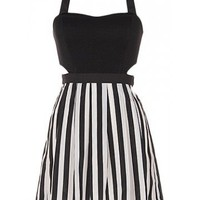 Stripe Cut Out Dress - Kely Clothing