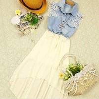 Sleeveless vest cowboy chiffon dress | Trave gifts for beauty