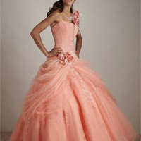 Embroidered One-shoulder Flower Taffeta Ball Gown Quinceanera Dress QD096