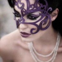 Swirly leaves leather mask in violet by TomBanwell on Etsy