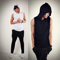 Summer Men Hooded Solid Sleeveless Vest Korean Leisure Sports Sweatshirt S M L