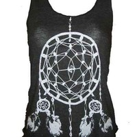 Dreamcatcher Native American Art Tank T-shirt Ladies American Apparel  (Tri-Black) Size  XS   S    M   or   L