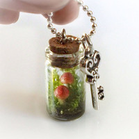 Secret garden terrarium necklace, dried green moss and clay mushrooms, tiny small vial necklace, Nature's Treasure collection