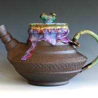 Cherry Blossom Teapot Handmade Stoneware Teapot by ocpottery