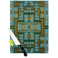 "Nika Martinez ""Golden Art Deco Green & Blue"" Cutting Board 