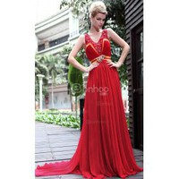 Straps Brush Sweep Train Pearl Diamond Silk Prom Party Dress