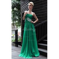 One-shoulder Floor-length Pearl Silk Prom Party Dress