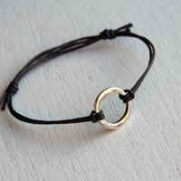 Irregular Karma Circle Bracelet with Waxed-Cotton Thread (24 colors to choose)