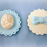 12 Tiffany Blue Cupcake / Cookie Fondant Topper, Tiffany Blue Cameo Bow Topper, Blue Wedding, Blue Party, Blue Birthday, Blue Bridal Shower