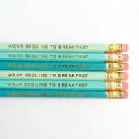 Wear Sequins to Breakfast Pencils- Turquoise, Aqua, & Mint, Set of 6
