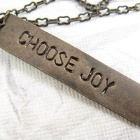 Choose Joy Necklace Hand Stamped Jewelry by CobwebCorner on Etsy
