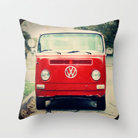 Red VW Bus Throw Pillow by Anna Dykema Photography