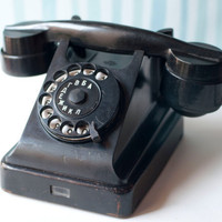 Rotary Dial Telephone Black Art Deco Telephone by SovietEra