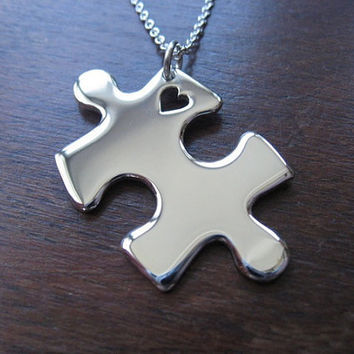 Puzzle Heart Silver Pendant Necklace by GorjessJewellery on Etsy