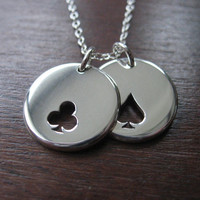 Clubs and Spades Card Symbols Silver Pendant by GorjessJewellery