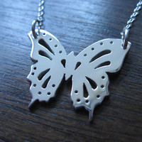 Butterfly Silver Pendant Necklace by GorjessJewellery on Etsy