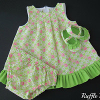 Infant sundress in lime green flowered print , set includes matching panties, ruffled shoes, headband w/bow , Size 3-6 months