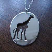 Giraffe Silver Pendant Necklace by GorjessJewellery on Etsy