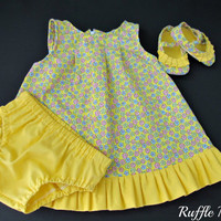Infant sundress in yellow flower print, set includes matching panties, ruffled shoes, headband w/bow , Size 3-6 months