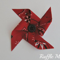 "Pinwheel hair clip set, 3"" bows in red, black and white bandana fabric, black button centers, set of two bows for piggy-tails"