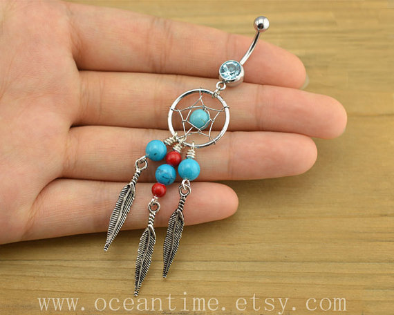 Dream catcher Belly Button Rings,Navel from OceanTime on Etsy