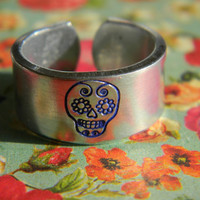 sugar skull mexican styled inspired 3/8 inch cuff style   ring