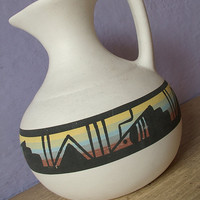 vintage Native American Indian pottery pitcher ewer, hand painted pottery, southwest decor, Pittsburgh