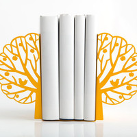 Minimalistic bookends - Summer - yellow tree laser cut metal bookends strong enough to hold your books