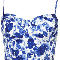 Porcelain Flower Print Corset - Topshop