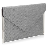 Glitter Envelope Side Bar Clutch | Silver | Accessorize