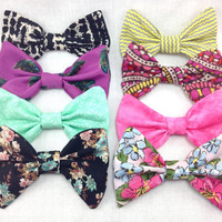 Set of Spring bows-Choose ONE-  floral, chevron, feathers and more