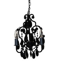 3-Bulb Mini Chandelier - Black