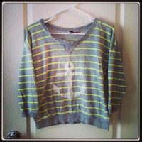 Neon stripe Anchor Shirt hand stenciled OOAK gray yellow stripe upcycled fits S