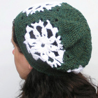 Snowflake  Slouch, Granny Square crochet slouchy beanie hat in forest green, ready to ship.