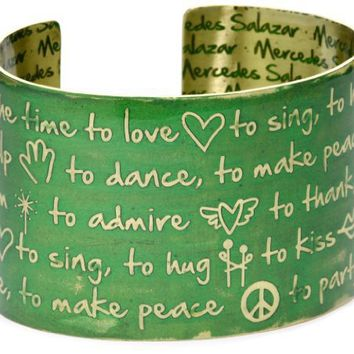 """Mercedes Salazar """"Enchanted Forest"""" Engraved and Resined Handmade Cuff Now Is The Time To"""