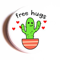 Free Hugs Button Cactus Cute Hearts Pinback Button Accessory