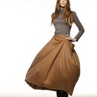 Lagenlook Maxi Skirt Big Pockets Cashmere Skirt by Sophiaclothing