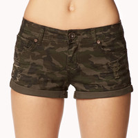 Distressed Denim Camo Shorts