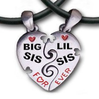 Big Sis & Lil Sis Heart Pendant Necklaces with chains. Pewter (2) piece set with PVC ropes are a great gift idea for an older big sister or a younger little sister! (Broken Heart Friendship jewelry design - Sister jewelry / sister gifts)