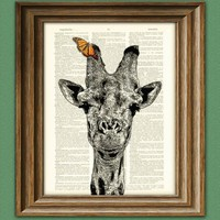 Giraffe with Butterfly illustration beautifully upcycled dictionary page book art print | CollageOrama - Print on ArtFire
