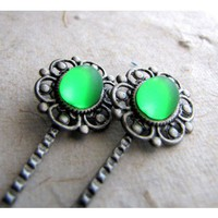 Absinthe Glow Hair Clips - Silver