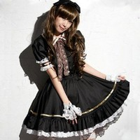 Fashion anime Lolita French Maid Costume Dress FULL set Miku Anime Cosplay:Amazon:Toys & Games