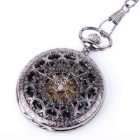 Altocraft C-PW001-2 Steampunk Skeleton Black Dial Pocket Watch with Imitation Leather Case