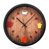 YCC Coffee Time Retro Wall Clock Color Black