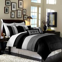 Chezmoi Collection 8 Pieces Black, White and Grey Luxury Stripe Duvet Cover Set Queen Size Bedding:Amazon:Home & Kitchen