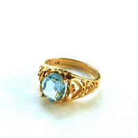 Vintage Blue Rhinestone Ring Heart Filigree Gold Tone Band Size 8