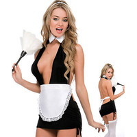 Intimate Lingerie Black Satin Lycra With Thong And Cap Maid Costume [TML0831] - &amp;#36;58.00 : Zentai, Sexy Lingerie, Zentai Suit, Chemise