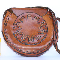 Beautiful, very unique and large, vintage hand made hand boho hippie leather shoulder bag purse....