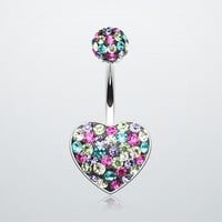 Brilliant Motley Tiffany Inspired Heart Belly Button Ring